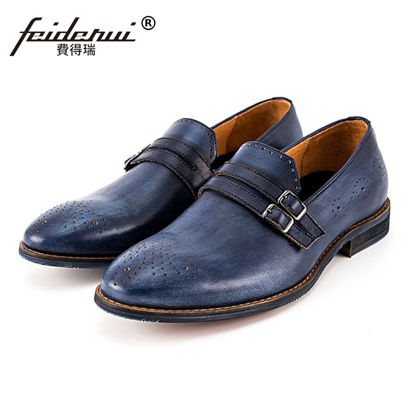 Summer Round Toe Slip on Man Shoes Monk Straps Genuine Leather Carved Loafers Handmade Breathable Men's Brogue Footwear SS102