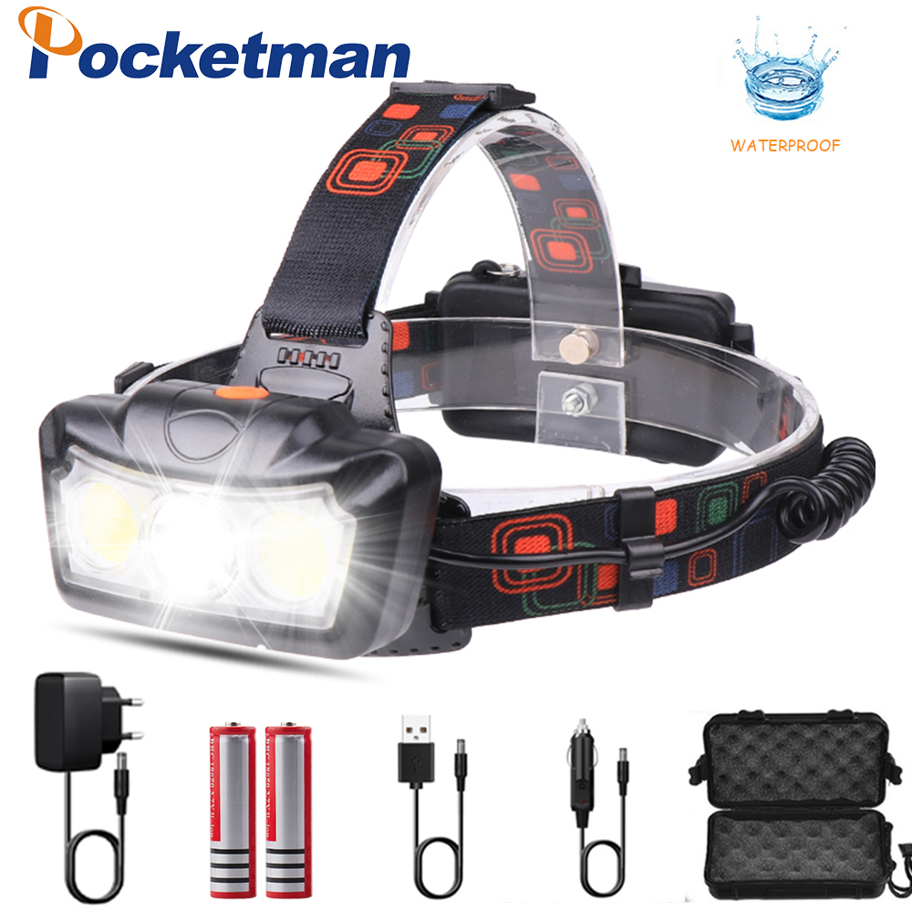 4000LM LED Headlamp T6+COB LED Headlight Head Lamp Flashlight Torch Lanterna Head Light Use 2*18650 Battery For Camping