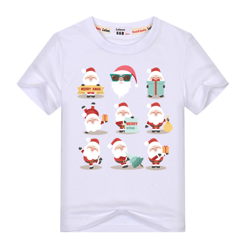 Infant kid T-shirt Baby Boy girl Christmas Santa Claus Short Sleeve T shirt Tops Children Milu Deer t shirt Cotton Clothes