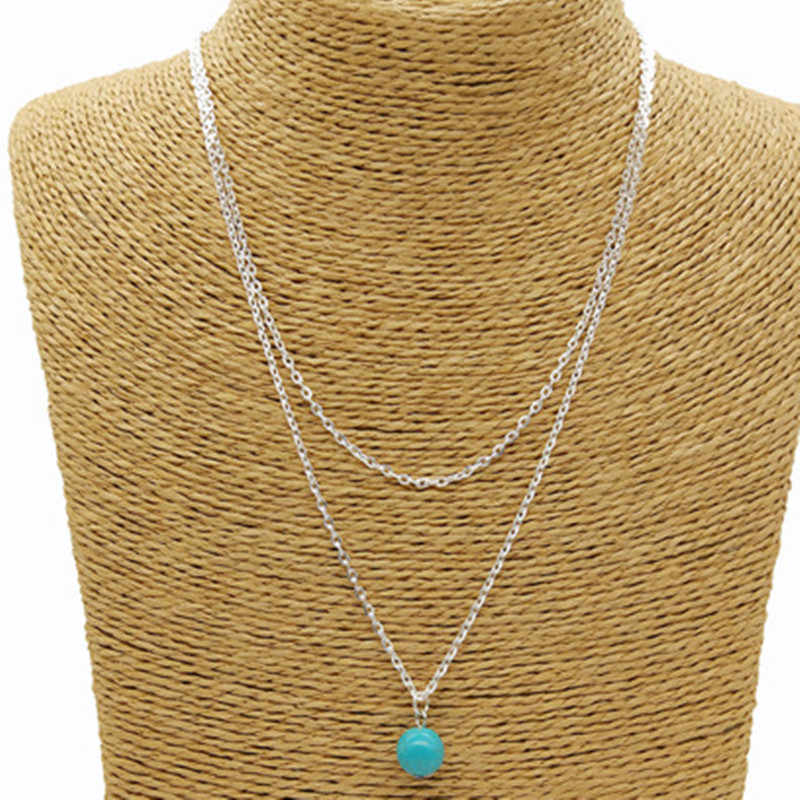New Fashion Jewelry For Women Double Layer Silver Color Necklace Nature Blue Stone Delicated Neck Jewelry kolye
