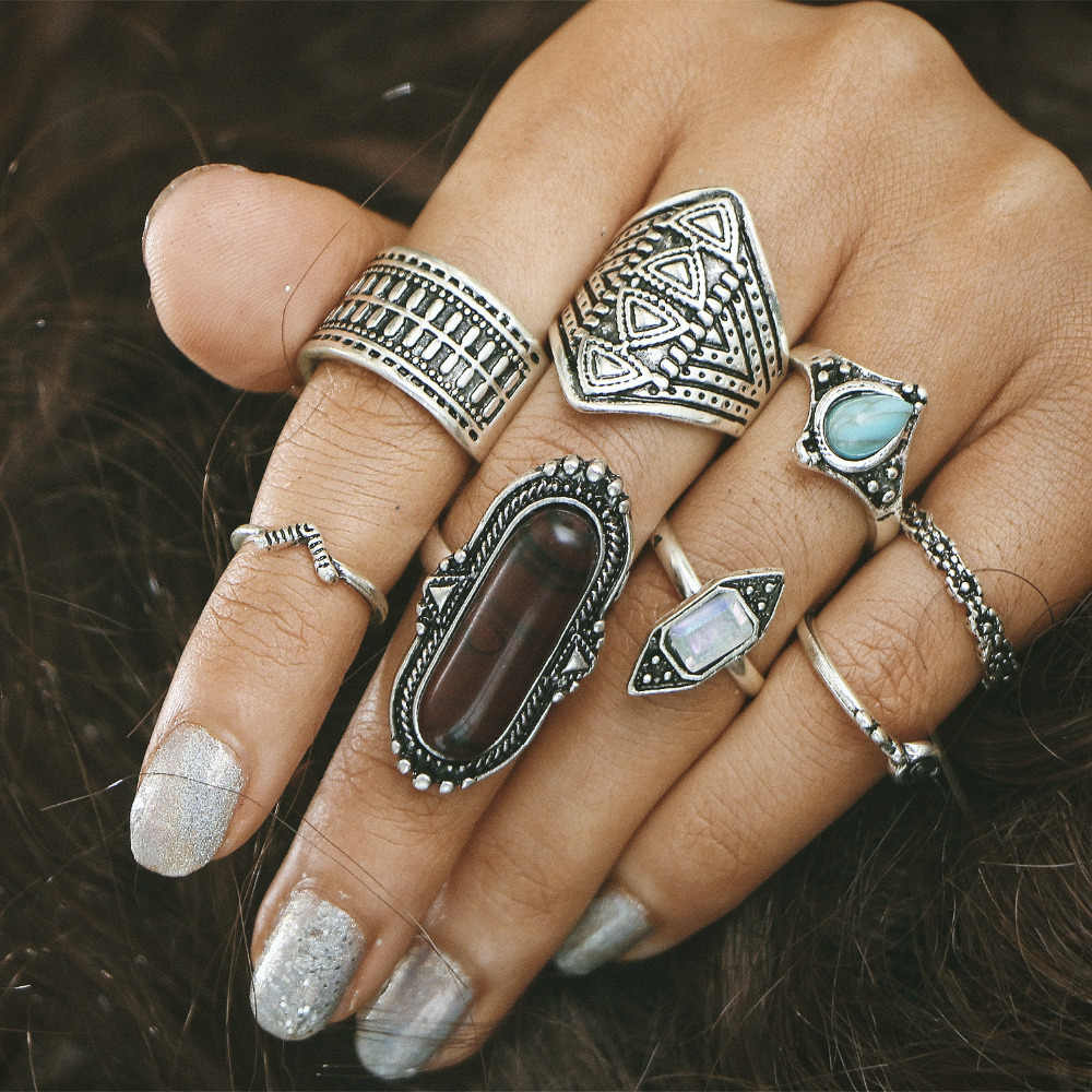8 pieces/set Knuckle Rings Sets For Women Jewelry Antique Gold Silver Color Blue Stone Crystal Flower Midi Finger Bohemian Ring