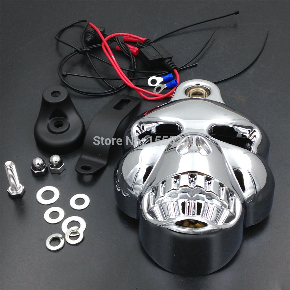 Motorcycle Parts Chrome LED Skull Carburetor Horn Cover for Harley Davidson Big Twins V Rods Stock Cowbell 1992 2013