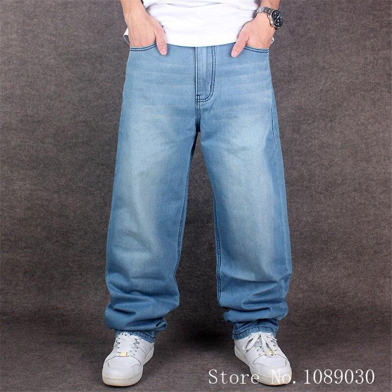 2017 Men hip hop jeans skateboard men baggy jeans denim pure color pants Fashion casual loose jeans rap street wear size 46