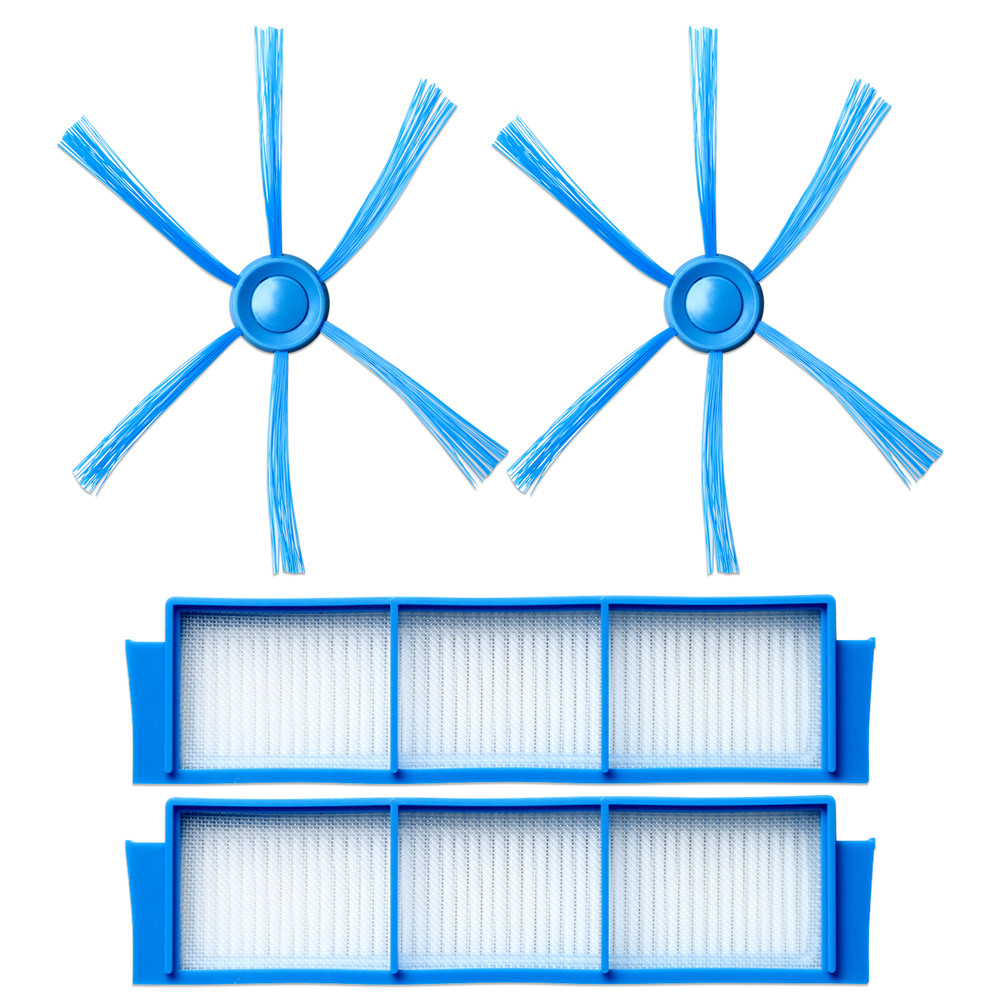 2*Side Brushes + 2*Hepa Filters For Philips FC8007 FC8792 FC8794 FC8796 Vacuum Cleaner Robotic Replacement Spare Parts
