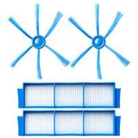 2 * yan Fırçalar + 2 * hepa filtreleri Philips Için FC8007 FC8792 FC8794 FC8796 Süpürge Robotik Yedek Yedek Parça|Elektrikli Süpürge parçaları|Ev Aletleri -