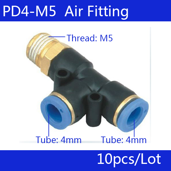 Free shipping HIGH QUALITY 10Pcs PD4-M5, Pneumatic M5 Thread 4mm One Touch Push In T Joint Quick Fittings