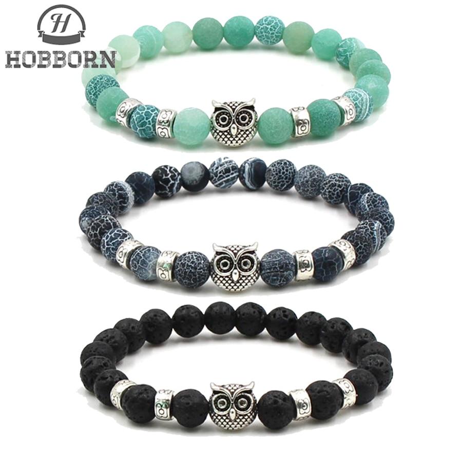 HOBBORN Trendy 8mm Natural Stone Bracelet Women Men Lava Colorful Weathered Onxy Owl Head Strand Beads Bracelets Jewelry