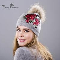 Bomba reina invierno sombrero para las mujeres de lana femenina sombrero de punto Beanie Cap Bordado visón real Pieles de animales POM Girl skullie sombreros