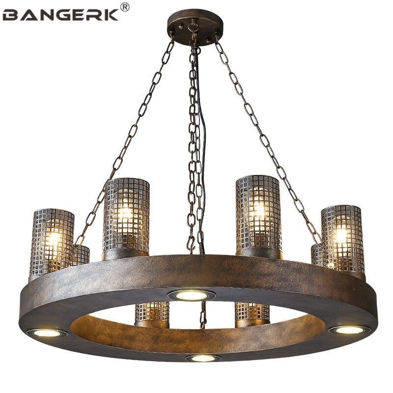 Loft nordique industriel Vintage pendentif LED lumière fer circulaire suspension lampe éclairage décor à la maison Antique