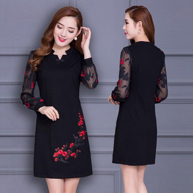 Plus la Taille 4XL Femmes De Mode Vintage Élégante Robe Brodée De Fleurs Col V À Manches Longues Robe Casual Robe Partie Robe