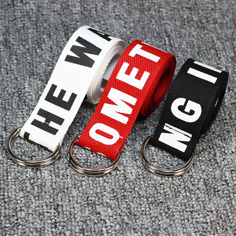 Letter Unisex Waist   Belts   Embroidery Hip Hop Canvas Waistband Harajuku Punk Cinturones Waist Strap All-match Accessories