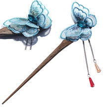 Retro Stylish Wooden Hair Stick Vintage Hair Pin Traditional Butterfly Design Hairpin for Women Hair Styling (Blue)(China)