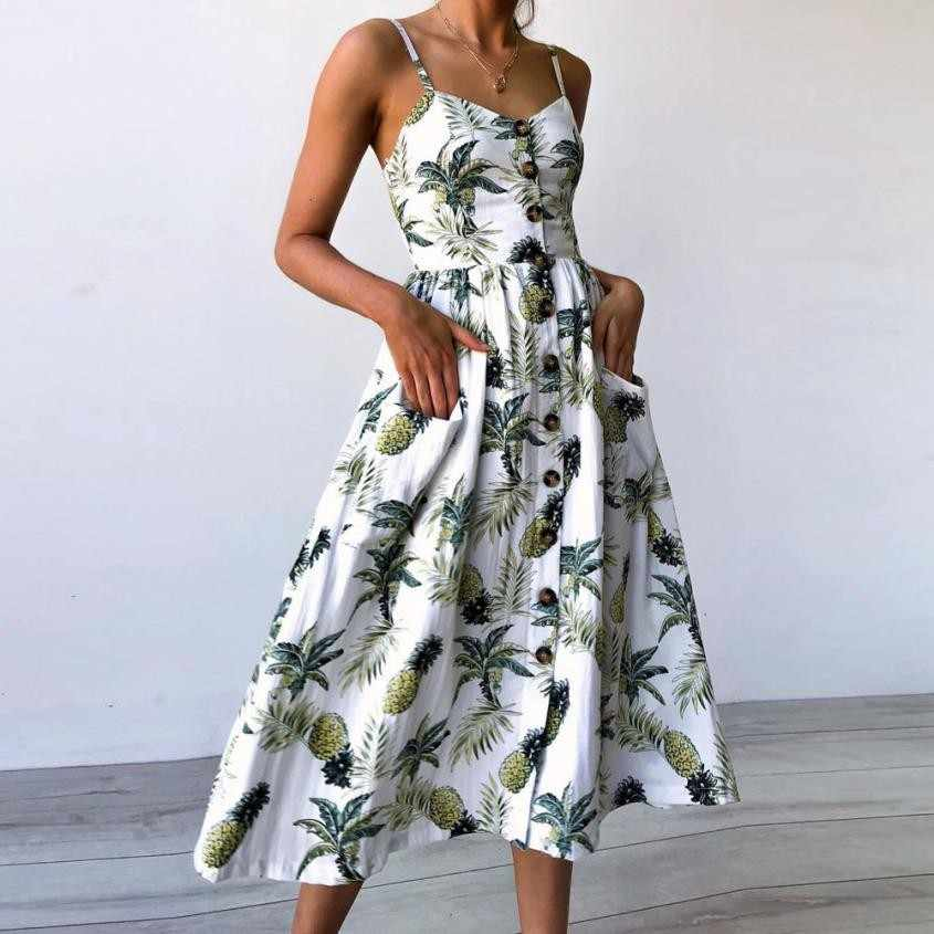6d198765be6 2018 новые модные летние платья Сексуальная подсолнечника ананас с  цветочным принтом пуговицы с открытыми плечами платье