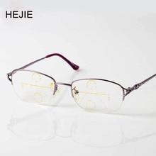 Elegant Women Alloy Multifocal Progressive Reading Glasses Brand Oval Half Frame High Quality Diopter+1.0-+4.0 Purple Y1056