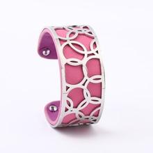 Stainless Steel Bangle Bracelet Manchette Femme Jewelry Cuff Bracelets Reversible Leather Bangles For Women Gift