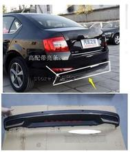 High Quality Black PP Rear Bumper Diffuser,Auto Car rear lip with chrome line for skoda Octavia 4dr or 5dr 2014 2015 2016 2017