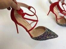 Keshangjia امرأة أحذية عالية الكعب اللباس أحذية الزفاف مطرزة القماش رباط الكاحل مضخات النساء مثير الكعب zapatos موهير