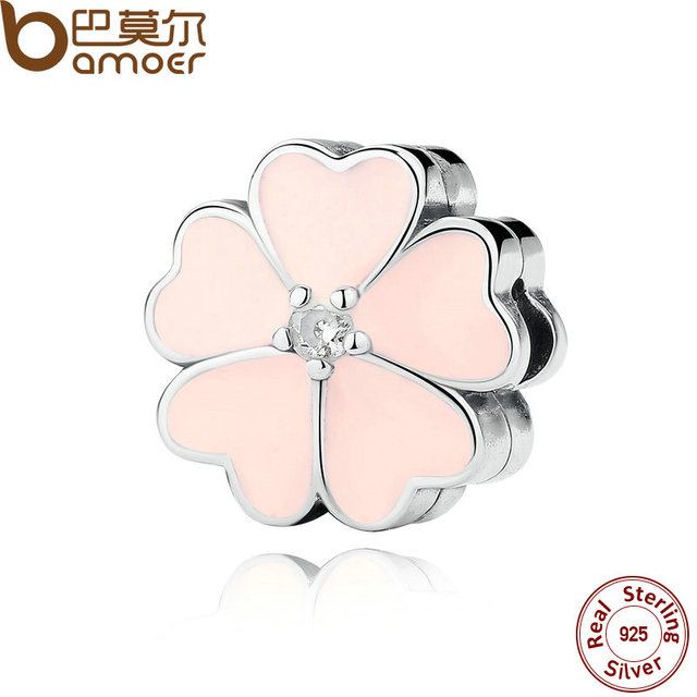 925 Sterling Silver Pink Enamels & Clear CZ Heart Flower Clip Stopper Charms Fit Bracelet jewelry Accessories PAS289