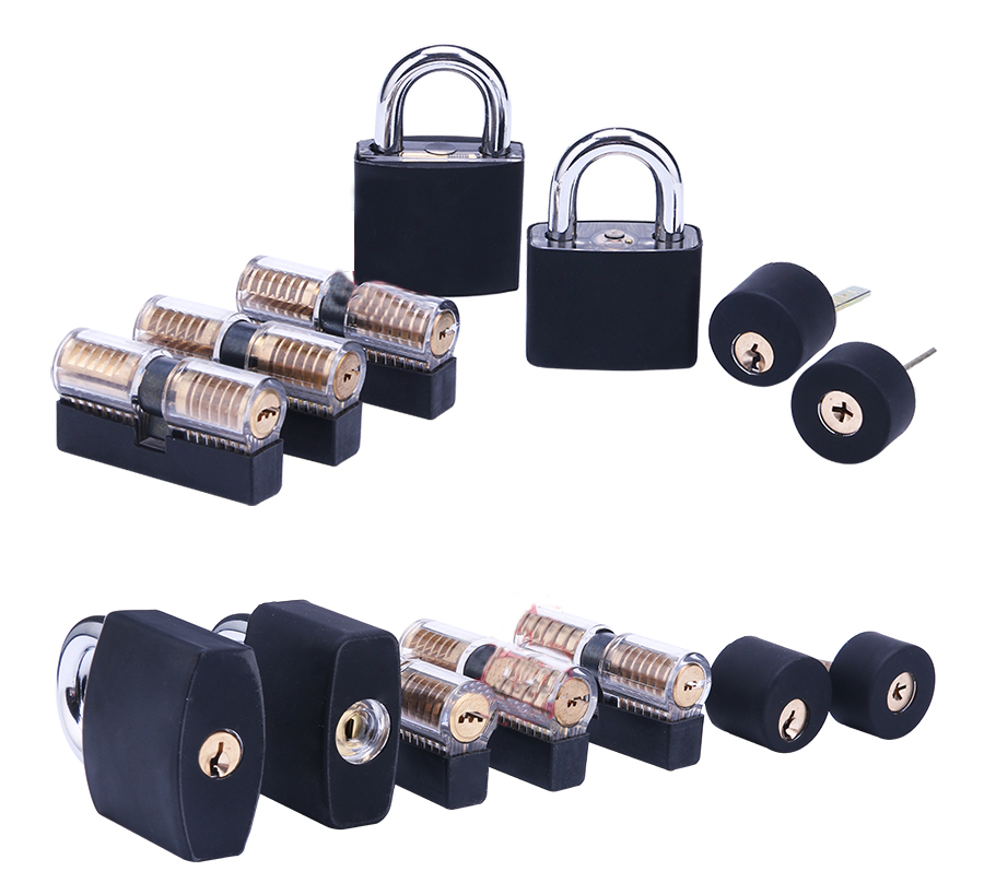 New high quality hot products transparent lock 7 piece set + black silicone sleeve, practice lock, transparent practice lock цена 2017