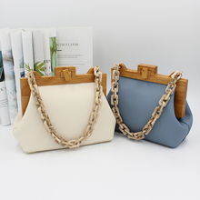 Women's Box Bag Bucket Bag Wooden Clip Evening Bag