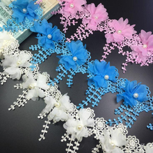 13Yards 3D Chiffon Lace Trimming Flower Fringe Trim Ribbon Sewing Organza Patchwork Fabric Applique Dress Accessories