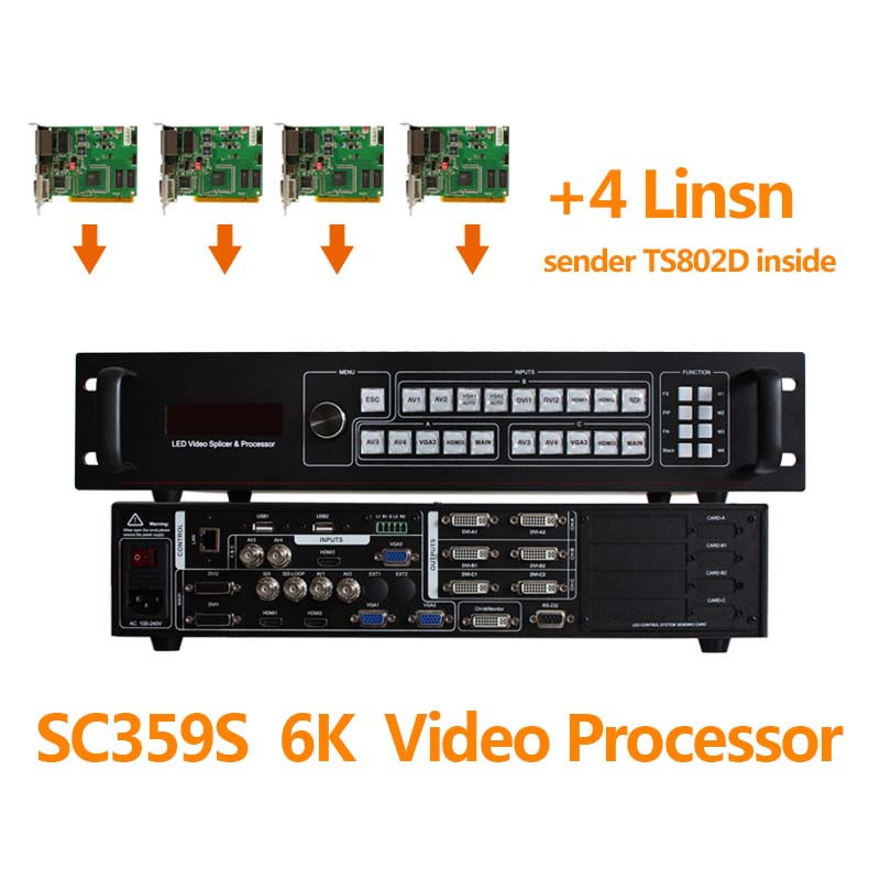 sdi video switcher SC359S video processor scaler for led screen tv outdoor install 4 sending card linsn ts802d sender card