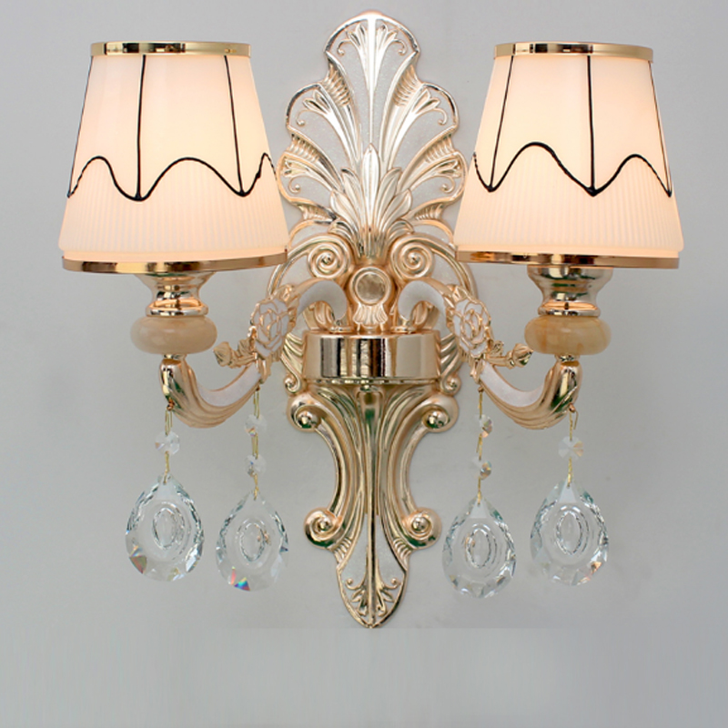 European crystal wall lamp living room TV background wall lamp room headway hotel engineering light decoration golden wall lamp european luxury crystal double head wall lamp bedroom living room tv background wall american retro wall lamp free shipping