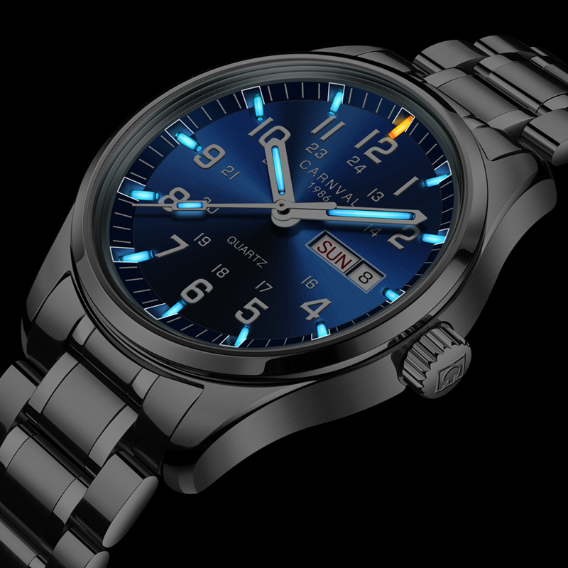 Carnival Luxury Brand Watch Men Quartz Men Watches Tritium Light Luminous Watch Male Waterproof Military Reloj Hombre C8638G-11