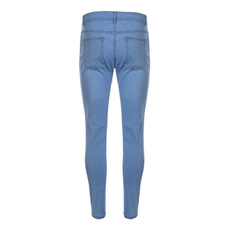 Мужские рваные джинсы для мужчин, повседневные Черные синие обтягивающие облегающие джинсовые штаны, байкерские джинсы в стиле хип-хоп с сексуальными дырками, джинсовые штаны
