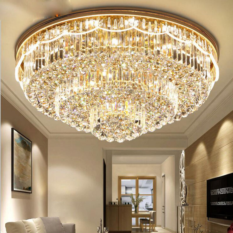 Us 439 12 56 Off Modern New Living Room Crystal Lamp Led Ceiling Round Simple Creative Side Luminous Hotel Lighting Fixtures For Bedroom In