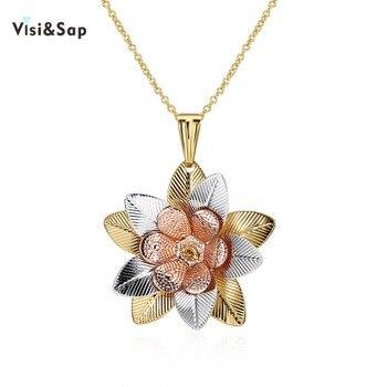 fd42e55f7ca8 Visisap pétalos abiertos flores collares para mujeres oro Color niñas  Tricolor cadenas collares colgantes regalos moda joyería VCN172