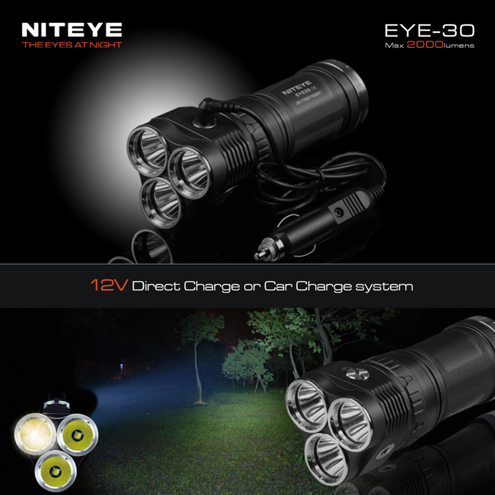 NITEYE EYE-30 LED Waterproof Flashlight Torch 12V Car Rechargeable Off-road Outdoor Searching Light 3 x CREE XM-L2 2000 Lumens niteye ec a12 aa battery rechargeable led flashlight edc light cree xp l led lamp 380 lumens alloy reflector power indicator