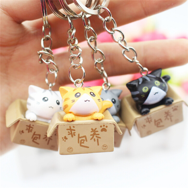 4pcs/lots Cartoon Cat Key Rings Chains Pendant Ornament For Bag Car Keychain Random Mixed Style  Lovely