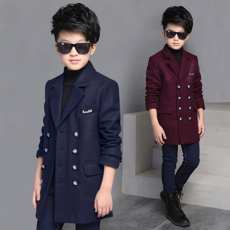 New fashion 2016 Children Wool Coats Outerwear winter Autumn Boys Jackets double breasted Thick Woolen Kids