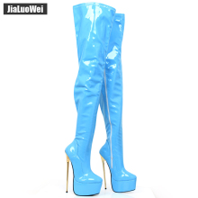 jialuowei 22CM Extreme High Thin Heel Platform Stiletto Pointed Toe Women Sexy Fetish Zip Over-the-Knee Thigh Crotch Boots