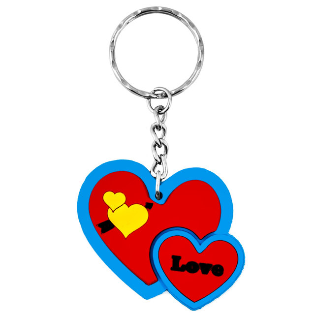 Online Shop Double Heart Symbol Silver Pink Ring Keychain Soft