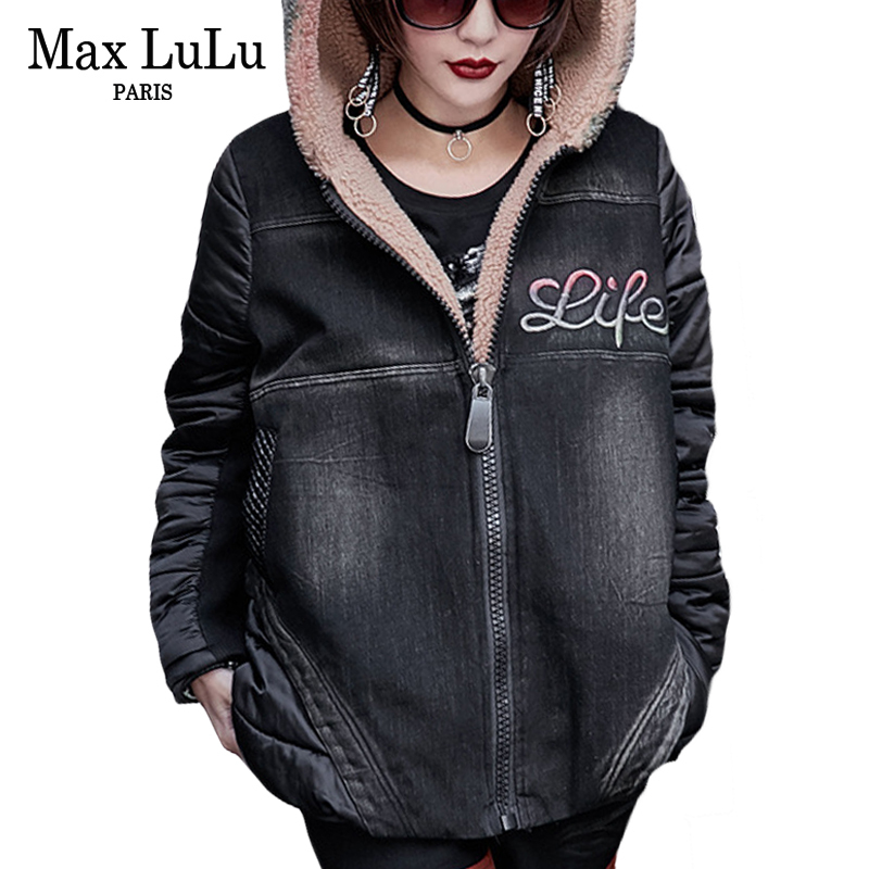 Max LuLu Luxury Japanese Thick Girls Punk Streetwear Women Denim Winter Jacket Warm Hooded Parka Woman