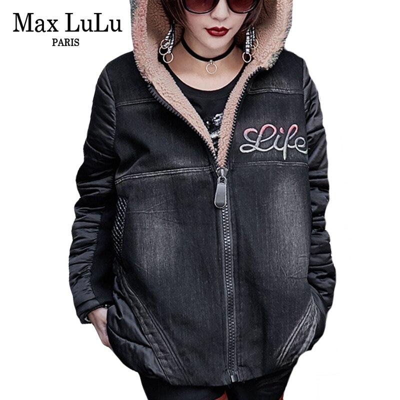 Max LuLu Luxo Japonês Grosso Meninas Do Punk Streetwear Mulheres Denim Casaco De Inverno Quente Parka Com Capuz Casaco de Pele Mulher Casaco Plus tamanho