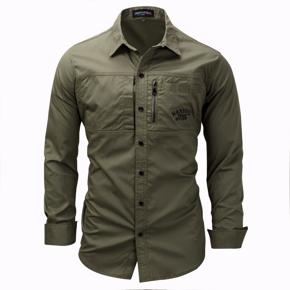Men Shirt Military Khaki Army-Green Slim-Fit Long-Sleeve High-Quality Masculina Camisa