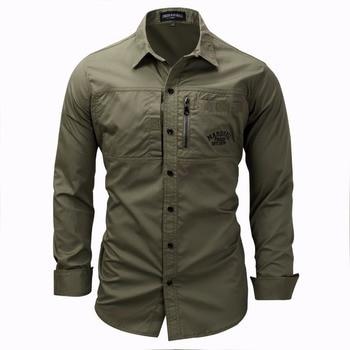 d83cdecf554 Мужская рубашка в стиле милитари с длинным рукавом Slim fit camisa  masculina хаки армейская зеленая рубашка высокого качества Мужская рубашка