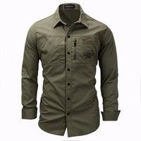 Men Shirt Military Mens Long Sleeve Slim Fit Camisa Masculina Khaki Army Green Shirt High Quality