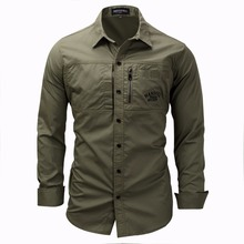 Фотография Men Shirt military Mens Long Sleeve Slim fit camisa masculina Khaki Army green Shirt High Quality Shirt men