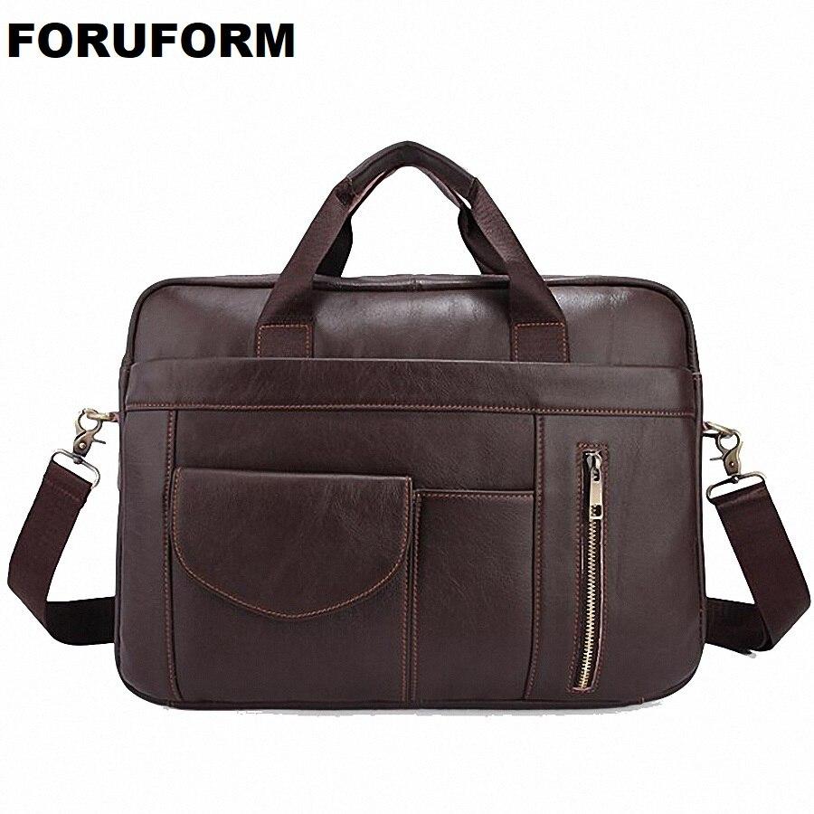 Genuine Leather Men Bags Business Briefcase Men's Laptop Bag Man Vintage Crossbody Shoulder Handbag Male Messenger Bag LI-2155