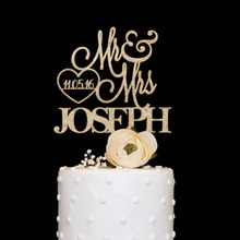 Customized font b wooden b font acrylic font b wedding b font cake topper with love