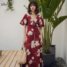 Ubei Women red print summer dress new holiday V-neck ruffles high waist printing maxi chiffion