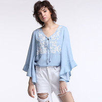 High Street V Neck Bell Sleeve Ethnic Floral Embropidery Blusas Mujer Casual Streetwear Autumn Blouses Tops