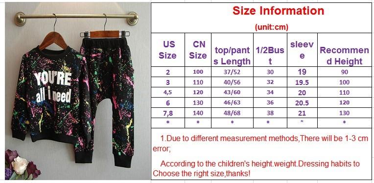 Ali Królik 2 SZTUK topy + spodnie Toddler dziewczyna odzież kolorowe drukowanie dziewczyny ubrania dres dziewczynek dzieci 2 3 4 5 lat 7 tkaniny 2