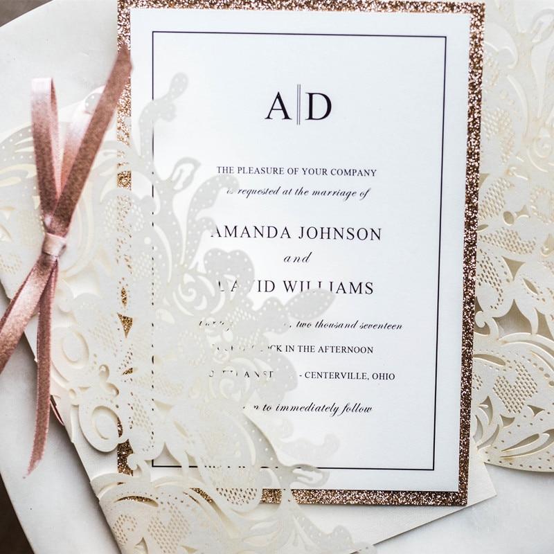 (100 stücke/los) anpassen Druck High end Weiß Hochzeit Einladen Karte Laser Floral Glittery Engagement Taufe Einladungen IC120W-in Karten & Einladungen aus Heim und Garten bei  Gruppe 2