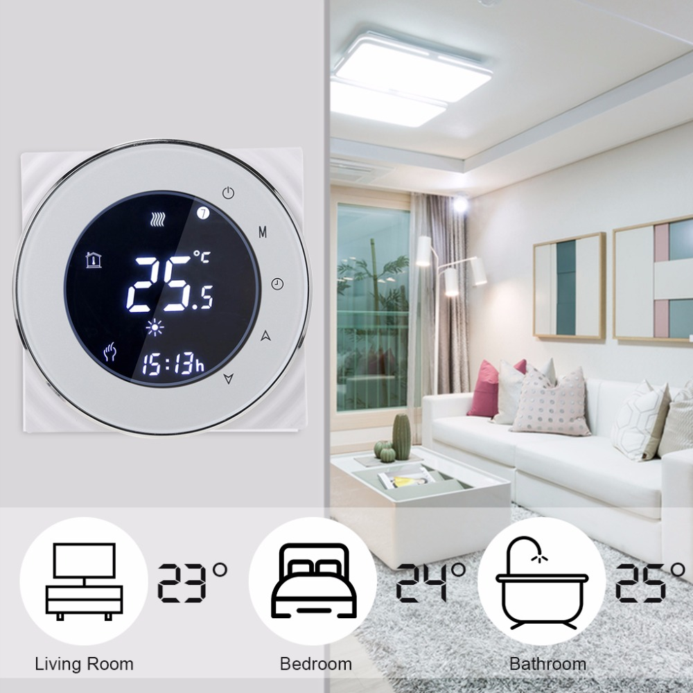 Programmable Thermostat Electric Heating Thermostat Negative LCD Touch Screen Temperature Controller Warm Floor 95-240V floor heating thermostat temperature control switch electric film thermostat electric geothermal uth 170r