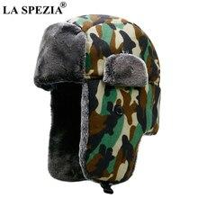 LA SPEZIA Camouflage Trapper Hat Men Women Winter Russian Soviet Ushanka Ear Flap Fur Thick Warm Outdoor Bomber